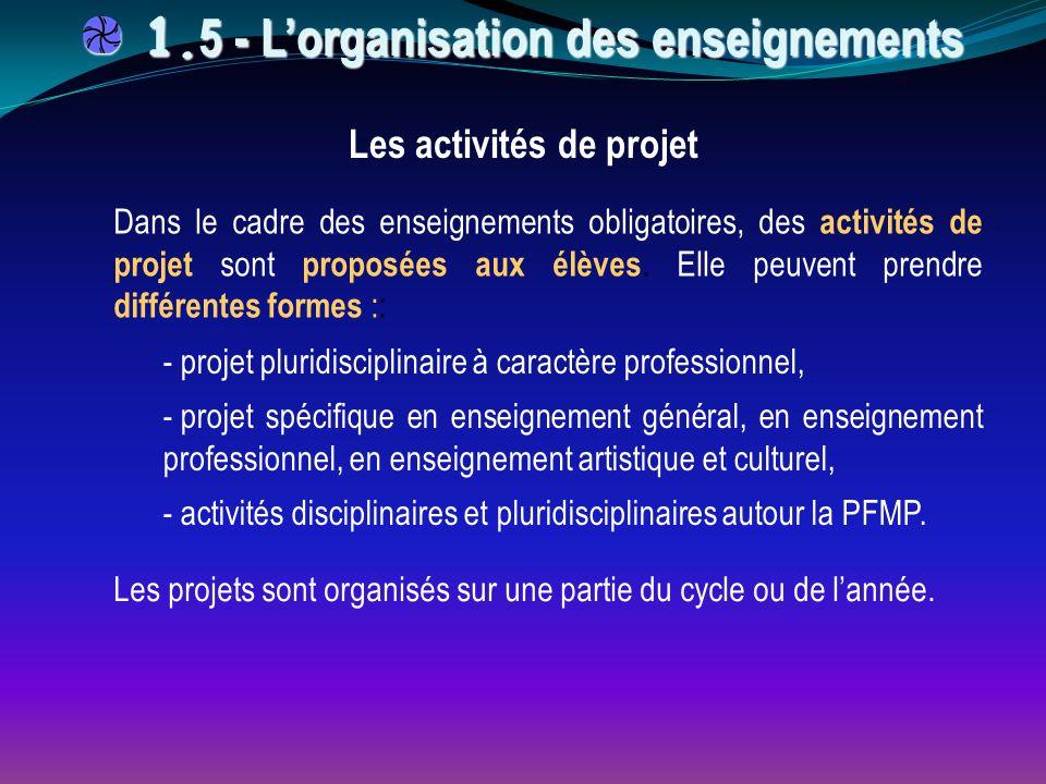 Dans le cadre des enseignements obligatoires, des activités de projet sont proposées aux élèves. Elle peuvent prendre différentes formes :: - projet p