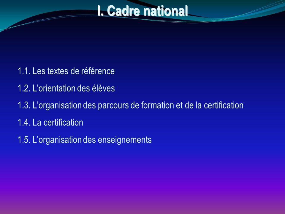 1.1. Les textes de référence 1.2. L'orientation des élèves 1.3. L'organisation des parcours de formation et de la certification 1.4. La certification