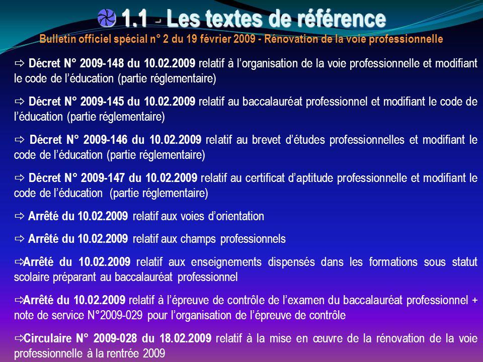  Décret N° 2009-148 du 10.02.2009 relatif à l'organisation de la voie professionnelle et modifiant le code de l'éducation (partie réglementaire)  Dé
