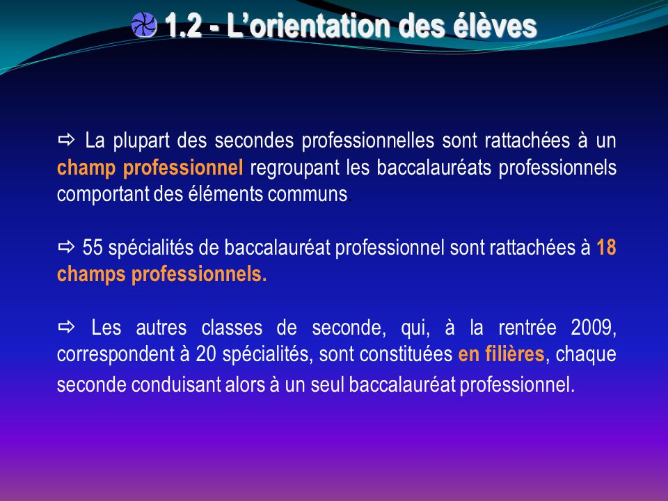  La plupart des secondes professionnelles sont rattachées à un champ professionnel regroupant les baccalauréats professionnels comportant des élément