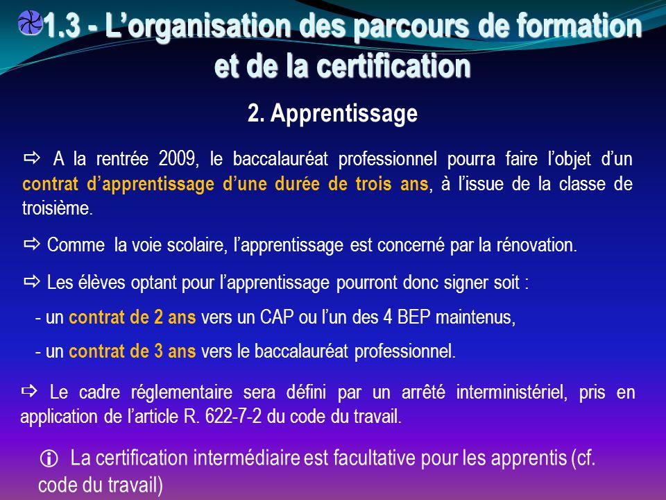  A la rentrée 2009, le baccalauréat professionnel pourra faire l'objet d'un contrat d'apprentissage d'une durée de trois ans, à l'issue de la classe