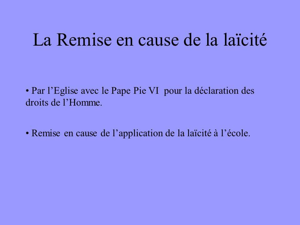 La Remise en cause de la laïcité • Par l'Eglise avec le Pape Pie VI pour la déclaration des droits de l'Homme. • Remise en cause de l'application de l