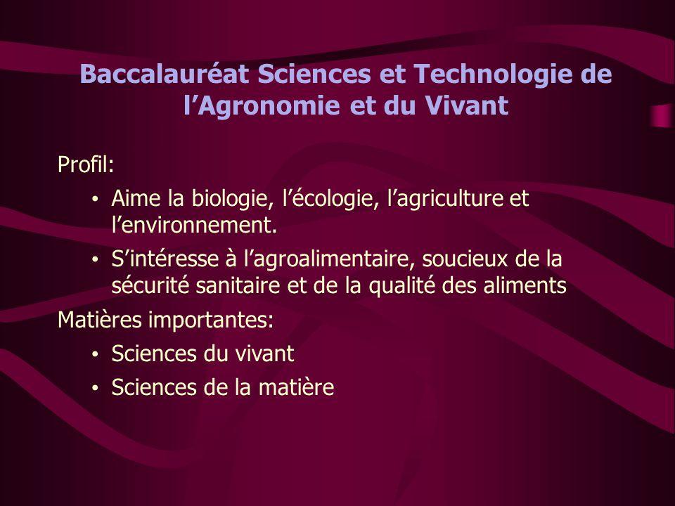 Baccalauréat Sciences et Technologie de l'Agronomie et du Vivant Profil: • Aime la biologie, l'écologie, l'agriculture et l'environnement. • S'intéres