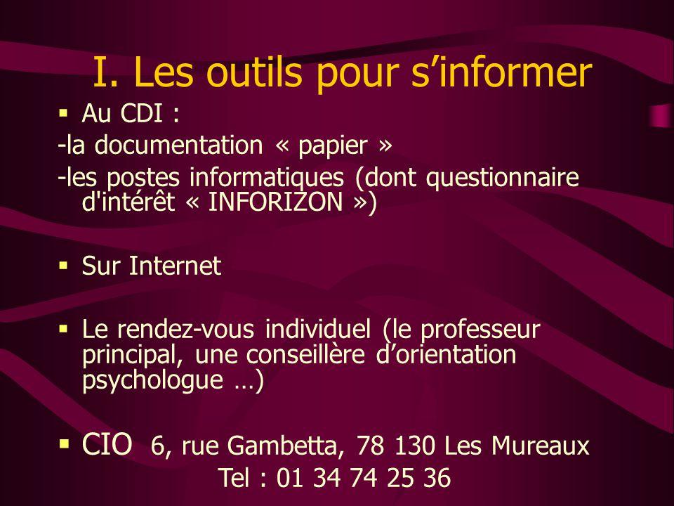 I. Les outils pour s'informer  Au CDI : -la documentation « papier » -les postes informatiques (dont questionnaire d'intérêt « INFORIZON »)  Sur Int