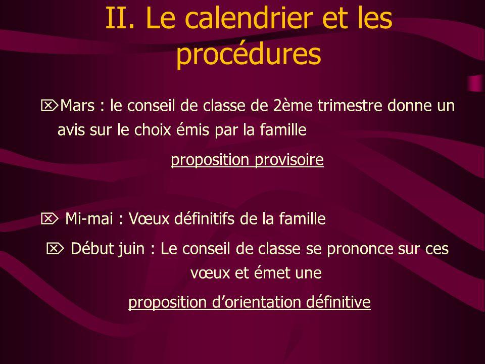 II. Le calendrier et les procédures  Mars : le conseil de classe de 2ème trimestre donne un avis sur le choix émis par la famille proposition proviso