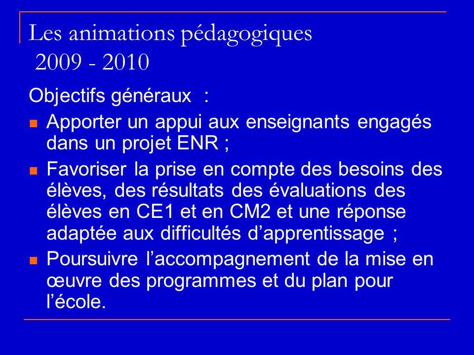 Les animations pédagogiques 2009 - 2010 Objectifs généraux :  Apporter un appui aux enseignants engagés dans un projet ENR ;  Favoriser la prise en