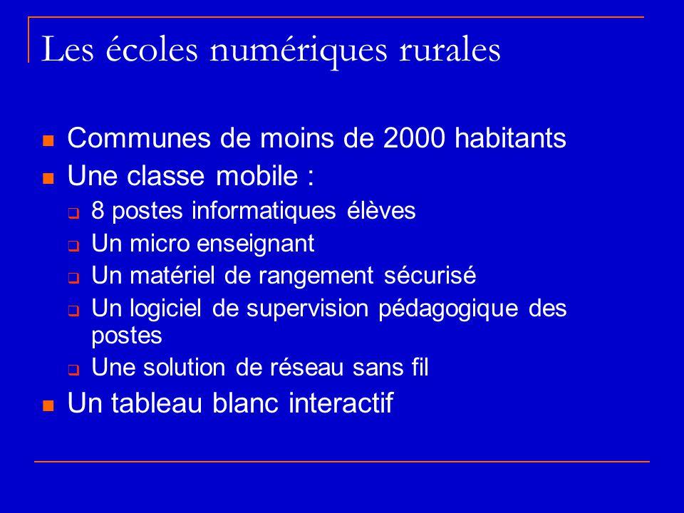 Les écoles numériques rurales  Communes de moins de 2000 habitants  Une classe mobile :  8 postes informatiques élèves  Un micro enseignant  Un m