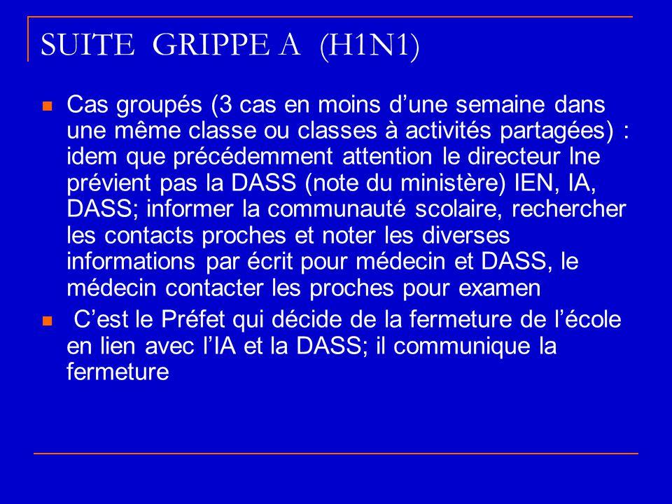 SUITE GRIPPE A (H1N1)  Cas groupés (3 cas en moins d'une semaine dans une même classe ou classes à activités partagées) : idem que précédemment atten