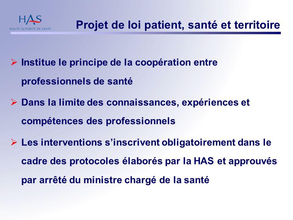 Projet de loi patient, santé et territoire  Institue le principe de la coopération entre professionnels de santé  Dans la limite des connaissances,