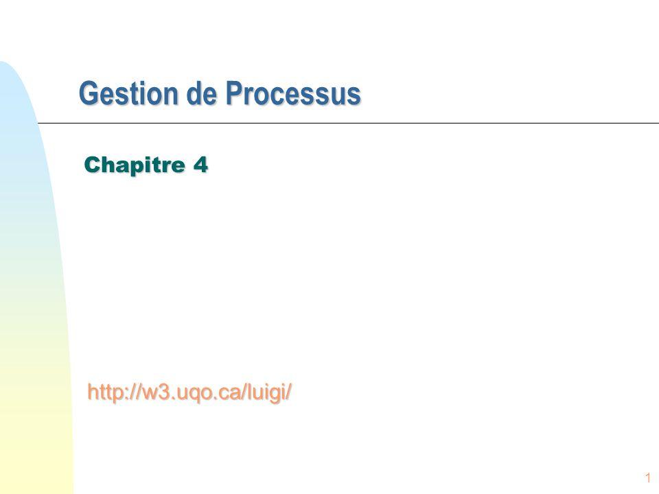 1 Gestion de Processus Chapitre 4 http://w3.uqo.ca/luigi/