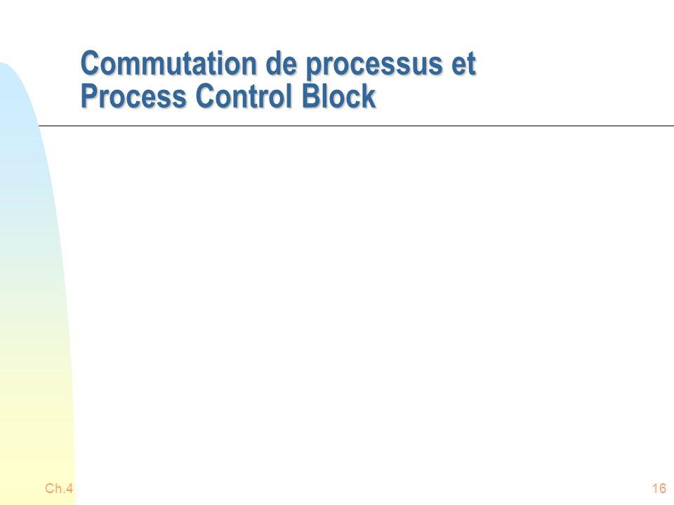 Commutation de processus et Process Control Block Ch.416