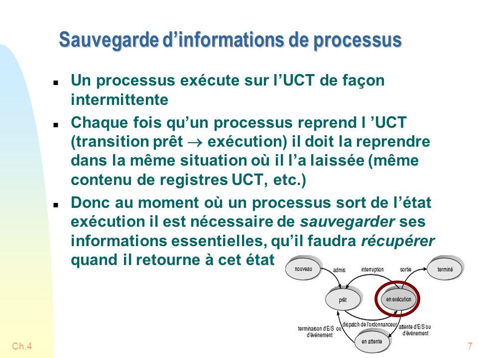 Ch.417 Sauvegarde d'informations de processus n Un processus exécute sur l'UCT de façon intermittente n Chaque fois qu'un processus reprend l 'UCT (transition prêt  exécution) il doit la reprendre dans la même situation où il l'a laissée (même contenu de registres UCT, etc.) n Donc au moment où un processus sort de l'état exécution il est nécessaire de sauvegarder ses informations essentielles, qu'il faudra récupérer quand il retourne à cet état