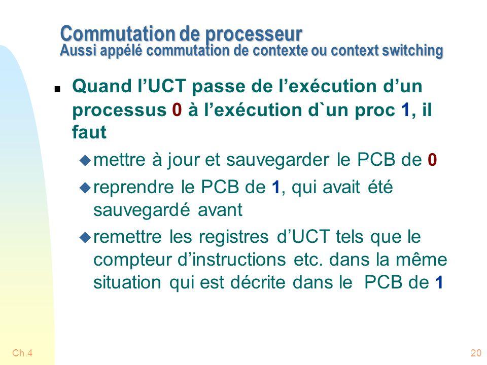 Ch.420 Commutation de processeur Aussi appélé commutation de contexte ou context switching n Quand l'UCT passe de l'exécution d'un processus 0 à l'exécution d`un proc 1, il faut u mettre à jour et sauvegarder le PCB de 0 u reprendre le PCB de 1, qui avait été sauvegardé avant u remettre les registres d'UCT tels que le compteur d'instructions etc.