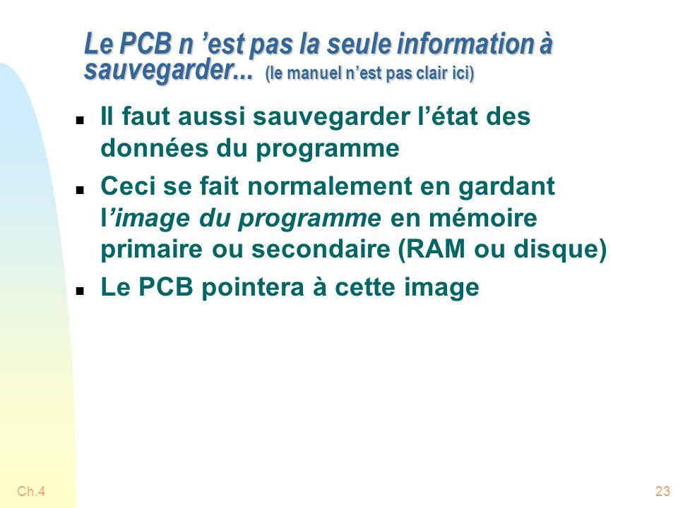 Ch.423 Le PCB n 'est pas la seule information à sauvegarder... (le manuel n'est pas clair ici) n Il faut aussi sauvegarder l'état des données du progr