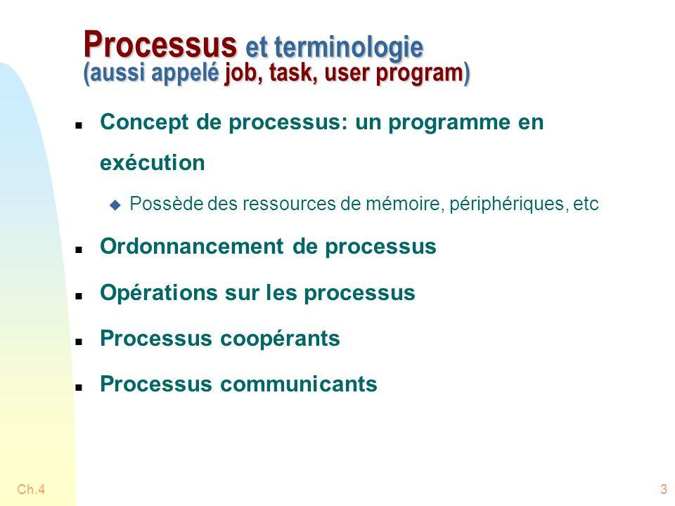 Ch.43 Processus et terminologie (aussi appelé job, task, user program) n Concept de processus: un programme en exécution u Possède des ressources de mémoire, périphériques, etc n Ordonnancement de processus n Opérations sur les processus n Processus coopérants n Processus communicants