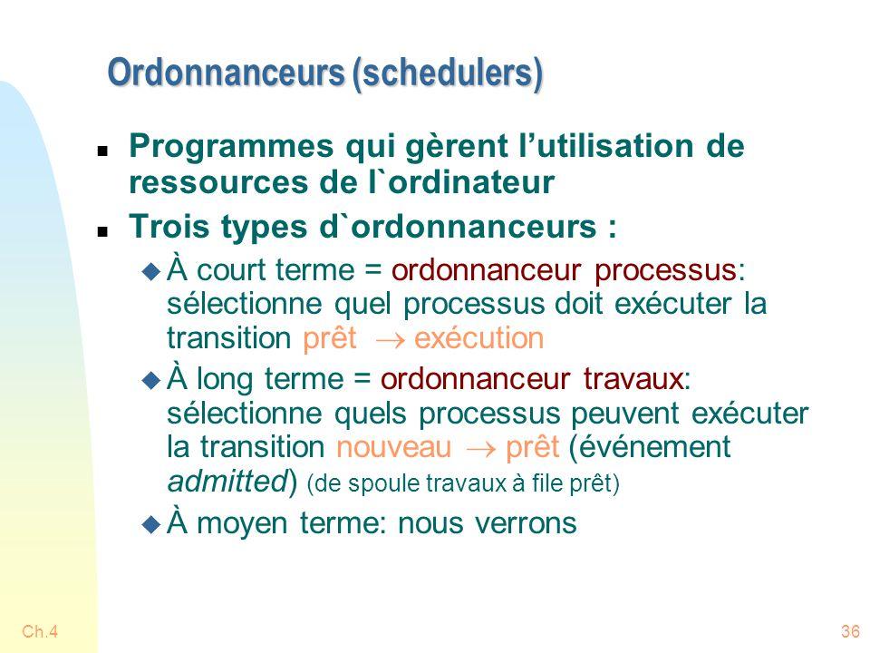 Ch.436 Ordonnanceurs (schedulers) n Programmes qui gèrent l'utilisation de ressources de l`ordinateur n Trois types d`ordonnanceurs : u À court terme
