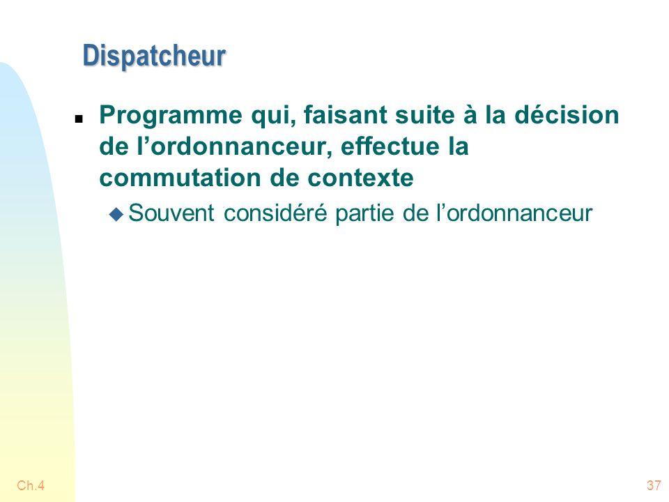 Dispatcheur n Programme qui, faisant suite à la décision de l'ordonnanceur, effectue la commutation de contexte u Souvent considéré partie de l'ordonnanceur Ch.437