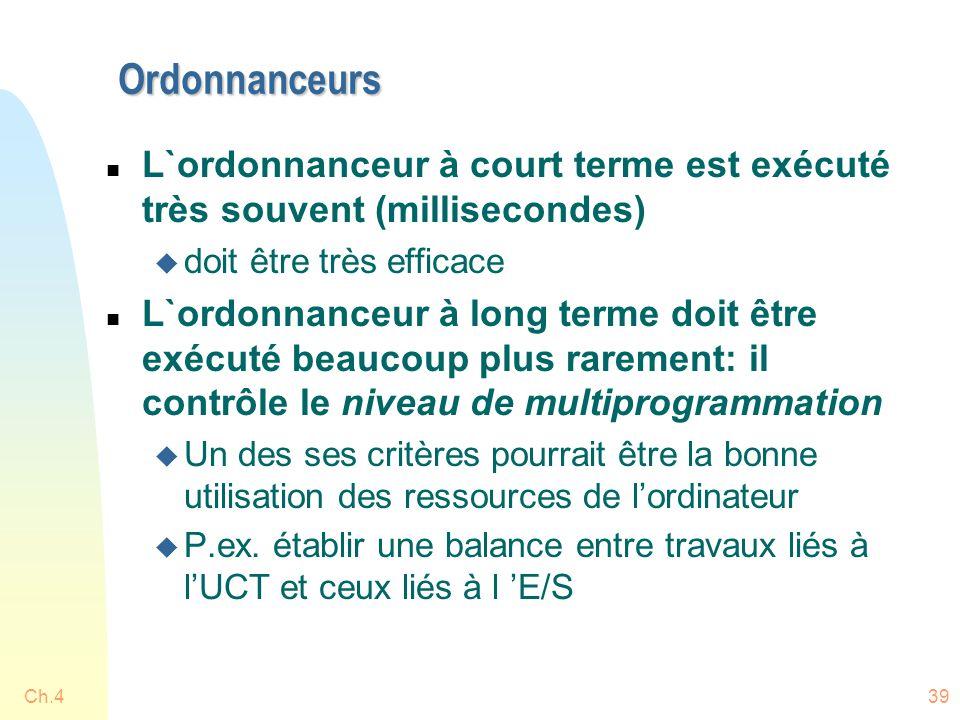 Ch.439 Ordonnanceurs n L`ordonnanceur à court terme est exécuté très souvent (millisecondes) u doit être très efficace n L`ordonnanceur à long terme d