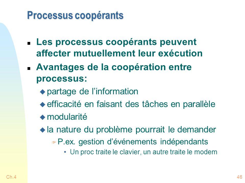 Ch.446 Processus coopérants n Les processus coopérants peuvent affecter mutuellement leur exécution n Avantages de la coopération entre processus: u p