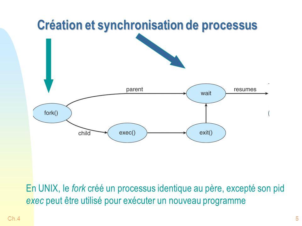 Ch.45 Création et synchronisation de processus En UNIX, le fork créé un processus identique au père, excepté son pid exec peut être utilisé pour exécu