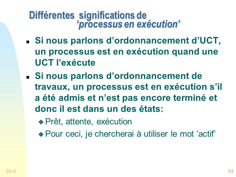 Ch.454 Différentes significations de 'processus en exécution' n Si nous parlons d'ordonnancement d'UCT, un processus est en exécution quand une UCT l'