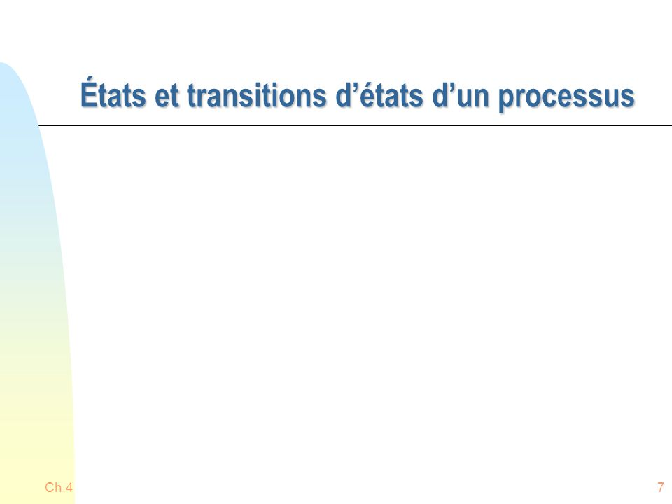 Ch.438 Ordonnanceur travaux = long terme et ordonnanceur processus = court terme Ordonnanceur travaux Ordonnanceur processus