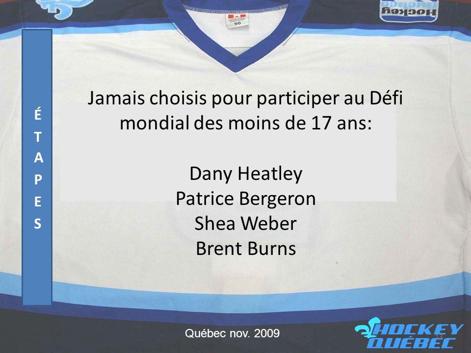 Jamais choisis pour participer au Défi mondial des moins de 17 ans: Dany Heatley Patrice Bergeron Shea Weber Brent Burns 13 Québec nov.