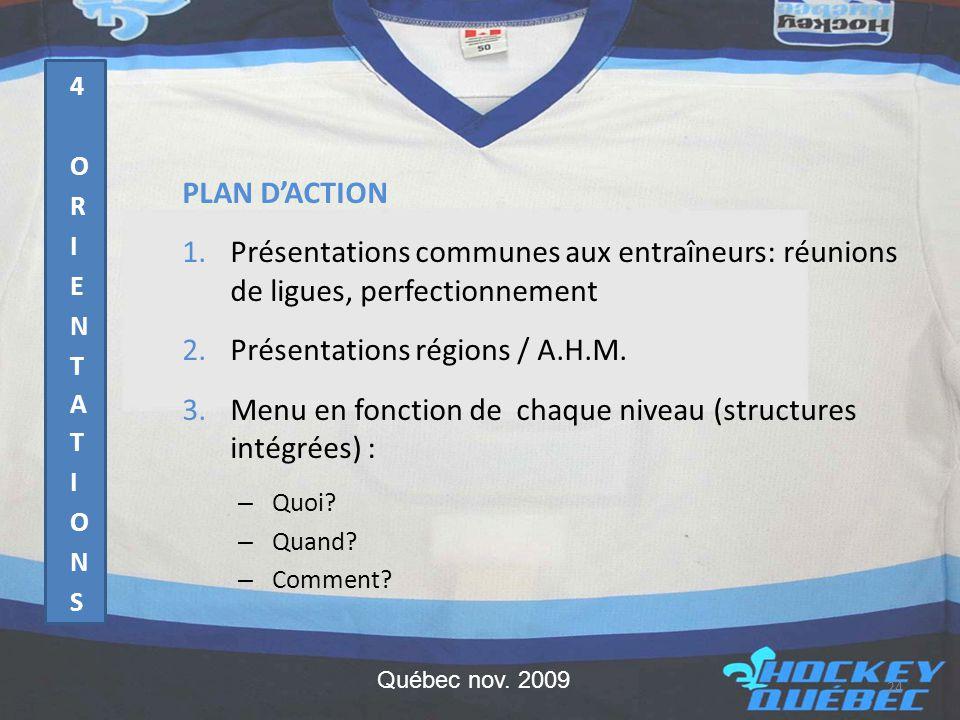 PLAN D'ACTION 1.Présentations communes aux entraîneurs: réunions de ligues, perfectionnement 2.Présentations régions / A.H.M.