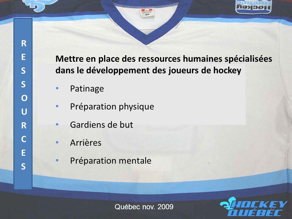 Mettre en place des ressources humaines spécialisées dans le développement des joueurs de hockey • Patinage • Préparation physique • Gardiens de but • Arrières • Préparation mentale 37 Québec nov.