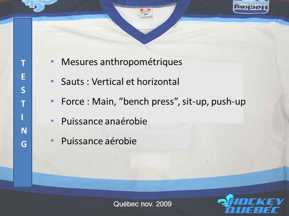 • Équipes de sélection • Hockey printanier • Évaluation et suivi des joueurs 29 Québec nov. 2009