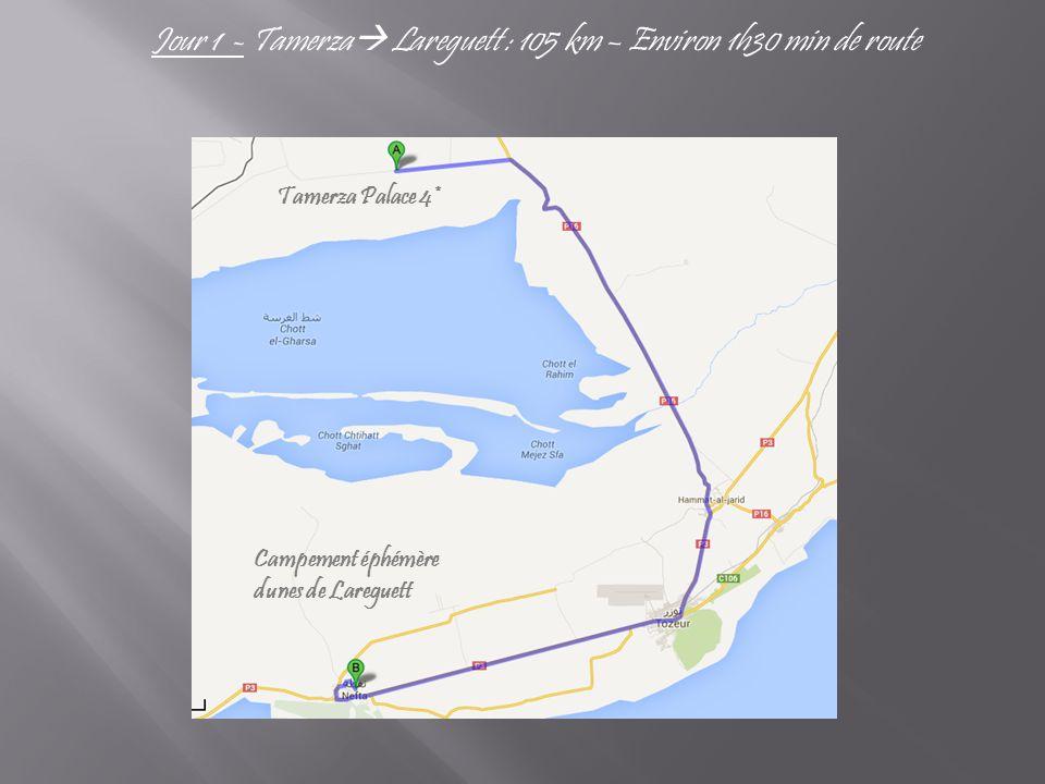 Jour 1 - Tamerza  Lareguett : 105 km – Environ 1h30 min de route Tamerza Palace 4* Campement éphémère dunes de Lareguett