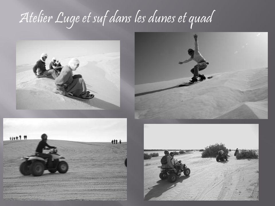 Atelier Luge et suf dans les dunes et quad