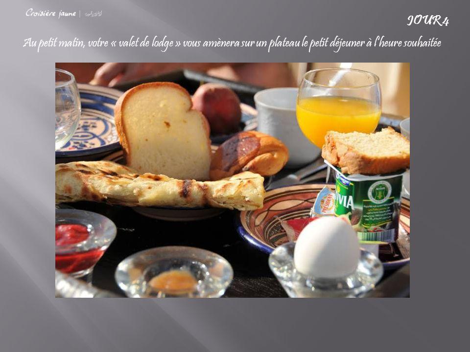 Au petit matin, votre « valet de lodge » vous amènera sur un plateau le petit déjeuner à l'heure souhaitée JOUR 4
