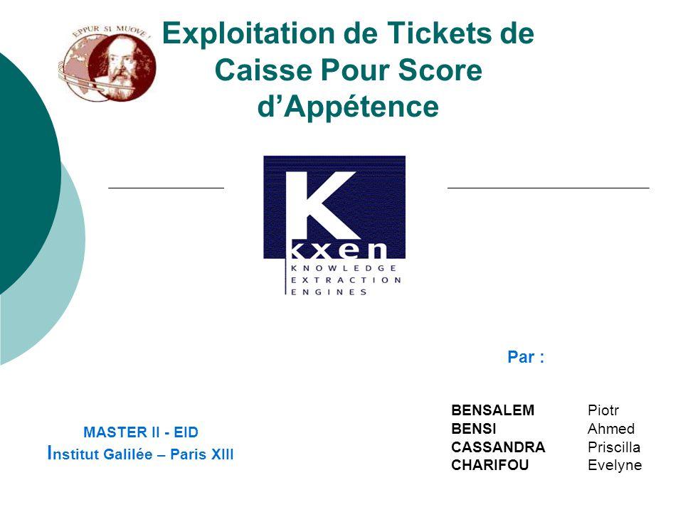 Exploitation de Tickets de Caisse Pour Score d'Appétence MASTER II - EID I nstitut Galilée – Paris XIII BENSALEM Piotr BENSI Ahmed CASSANDRA Priscilla