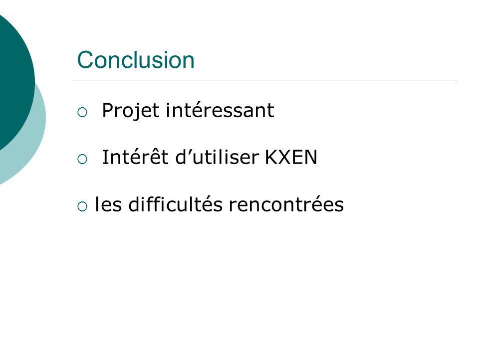 Conclusion  Projet intéressant  Intérêt d'utiliser KXEN  les difficultés rencontrées