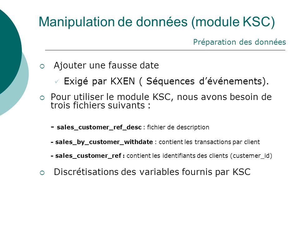 Manipulation de données (module KSC)  Ajouter une fausse date  Exigé par KXEN ( Séquences d'événements).  Pour utiliser le module KSC, nous avons b