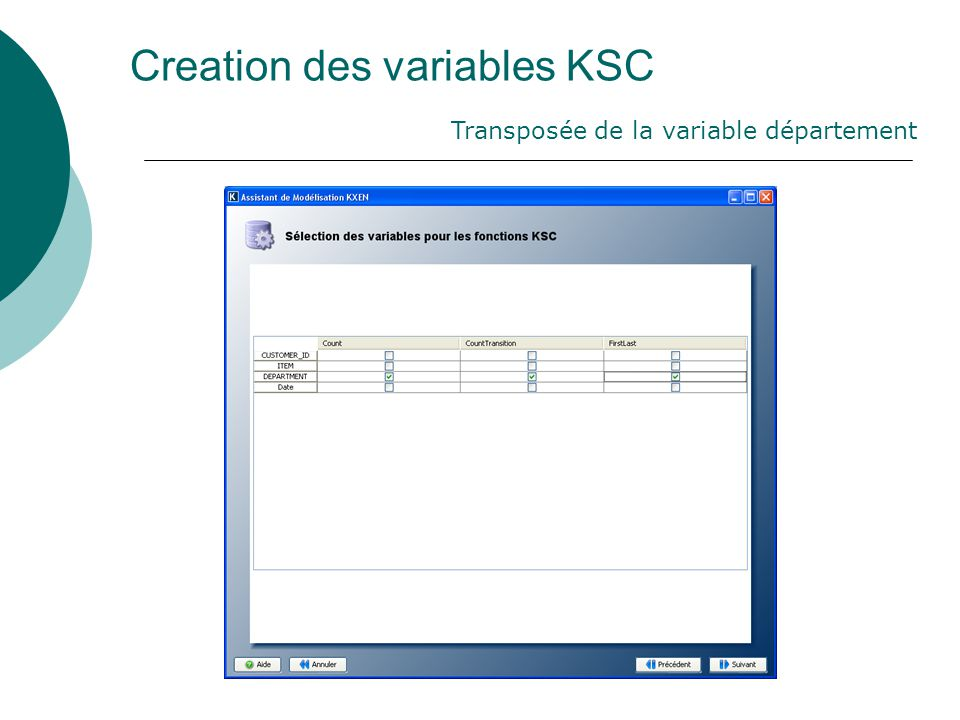Creation des variables KSC Transposée de la variable département