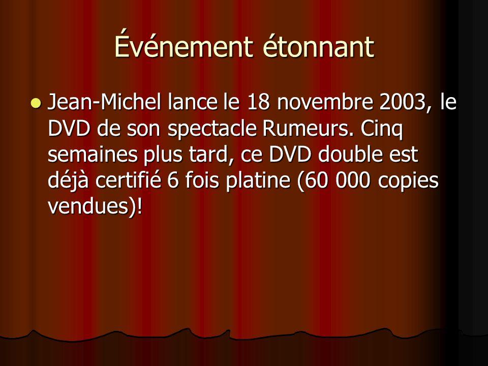 spectacle AAAAyant à son actif 733 représentations de son spectacle, Jean-Michel met fin à sa tournée en décembre après avoir vendu plus de 500 00