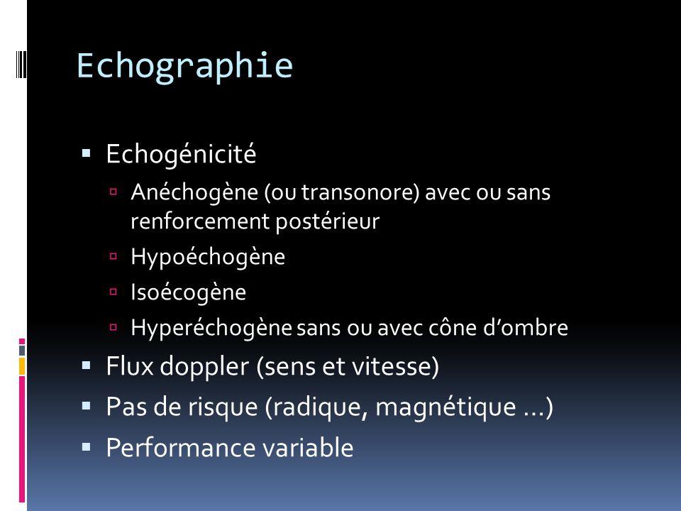 Echographie  Echogénicité  Anéchogène (ou transonore) avec ou sans renforcement postérieur  Hypoéchogène  Isoécogène  Hyperéchogène sans ou avec