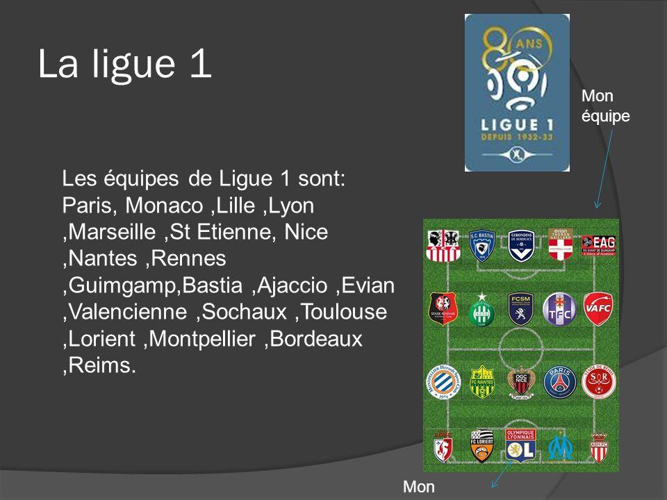 La ligue 1 Les équipes de Ligue 1 sont: Paris, Monaco,Lille,Lyon,Marseille,St Etienne, Nice,Nantes,Rennes,Guimgamp,Bastia,Ajaccio,Evian,Valencienne,So