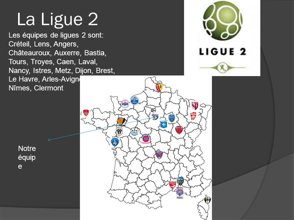 La Ligue 2 Les équipes de ligues 2 sont: Créteil, Lens, Angers, Châteauroux, Auxerre, Bastia, Tours, Troyes, Caen, Laval, Nancy, Istres, Metz, Dijon,