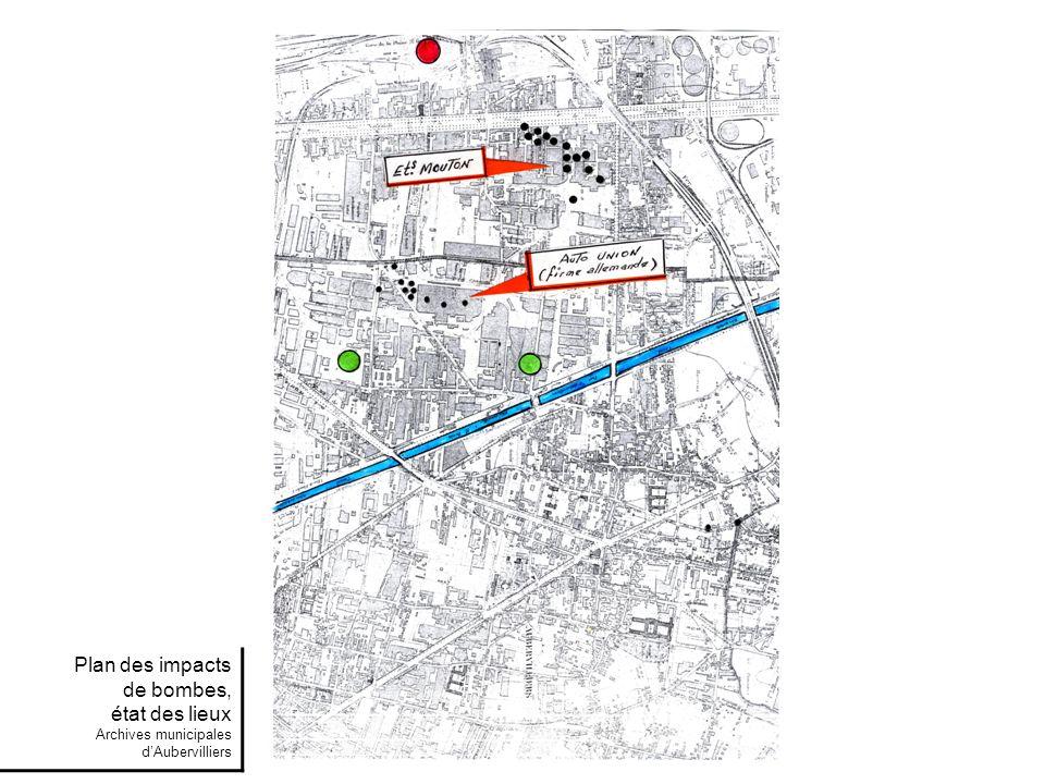 Plan des impacts de bombes, état des lieux Archives municipales d'Aubervilliers