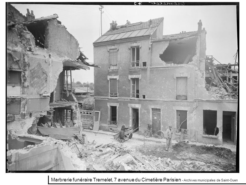 Marbrerie funéraire Tremelet, 7 avenue du Cimetière Parisien - Archives municipales de Saint-Ouen