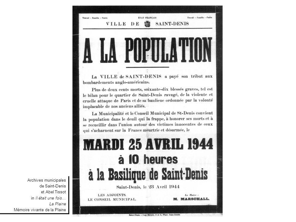 Extrait de la liste (non exhaustive) des victimes des bombardements Du 21 avril 1944 Document Alain Thomas