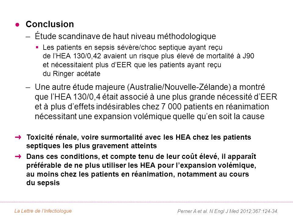 ●Conclusion –Étude scandinave de haut niveau méthodologique  Les patients en sepsis sévère/choc septique ayant reçu de l'HEA 130/0,42 avaient un risque plus élevé de mortalité à J90 et nécessitaient plus d'EER que les patients ayant reçu du Ringer acétate –Une autre étude majeure (Australie/Nouvelle-Zélande) a montré que l'HEA 130/0,4 était associé à une plus grande nécessité d'EER et à plus d'effets indésirables chez 7 000 patients en réanimation nécessitant une expansion volémique quelle qu'en soit la cause ➜ Toxicité rénale, voire surmortalité avec les HEA chez les patients septiques les plus gravement atteints ➜ Dans ces conditions, et compte tenu de leur coût élevé, il apparaît préférable de ne plus utiliser les HEA pour l'expansion volémique, au moins chez les patients en réanimation, notamment au cours du sepsis La Lettre de l'Infectiologue Perner A et al.