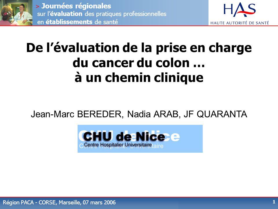> Journées régionales sur l'évaluation des pratiques professionnelles en établissements de santé Région PACA - CORSE, Marseille, 07 mars 2006 1 De l'é