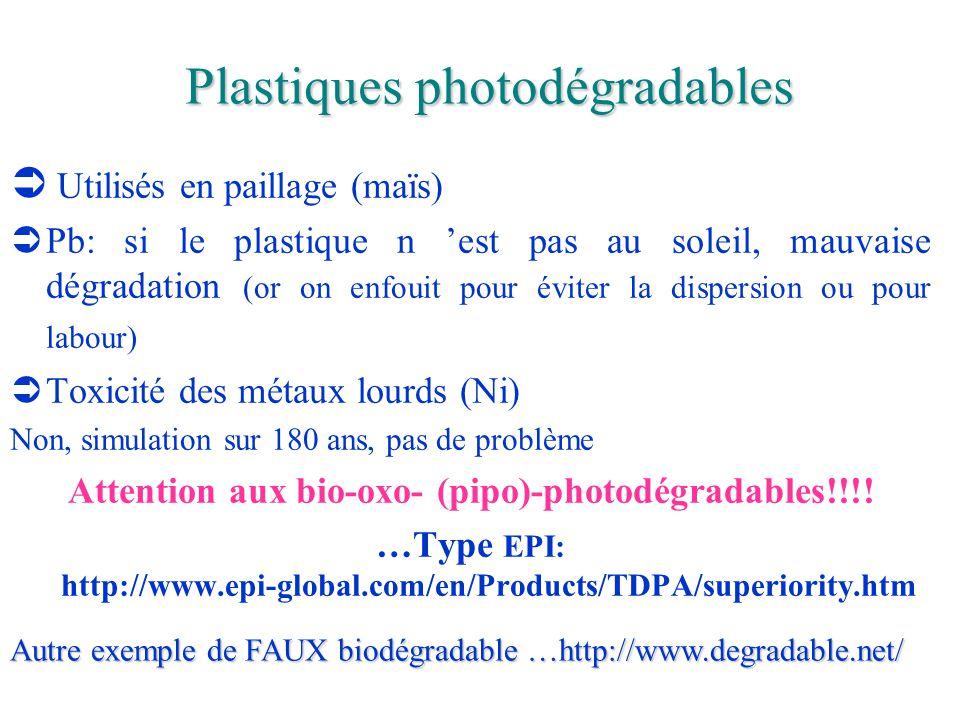 Plastiques photodégradables  Utilisés en paillage (maïs)  Pb: si le plastique n 'est pas au soleil, mauvaise dégradation (or on enfouit pour éviter