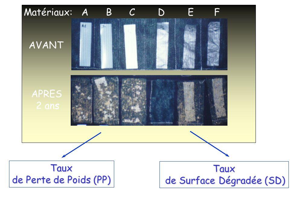 AVANT APRES 2 ans Matériaux: A B C D E F Taux de Perte de Poids (PP) Taux de Surface Dégradée (SD) de Surface Dégradée (SD)