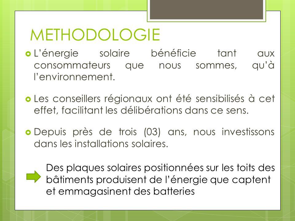 METHODOLOGIE  L'énergie solaire bénéficie tant aux consommateurs que nous sommes, qu'à l'environnement.