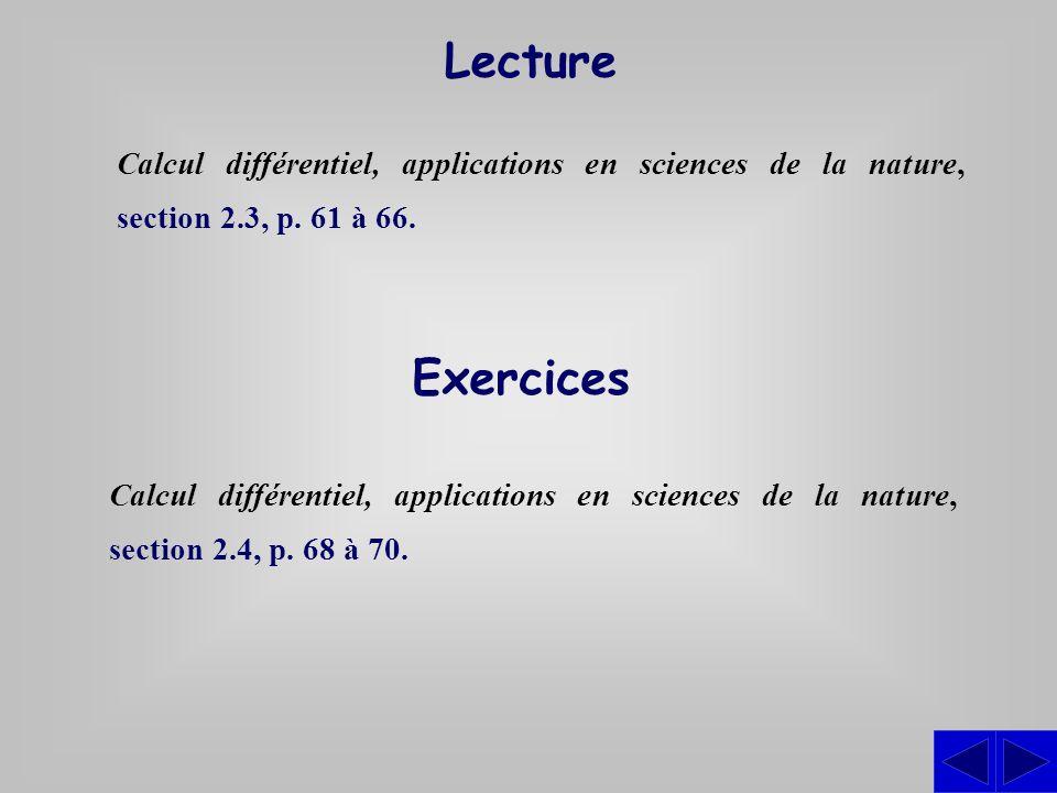 Exercices Calcul différentiel, applications en sciences de la nature, section 2.4, p. 68 à 70. Lecture Calcul différentiel, applications en sciences d